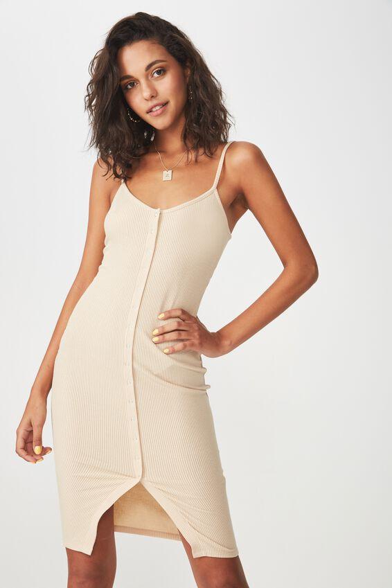 Button Rib Cami Mini Dress, FRAPPE