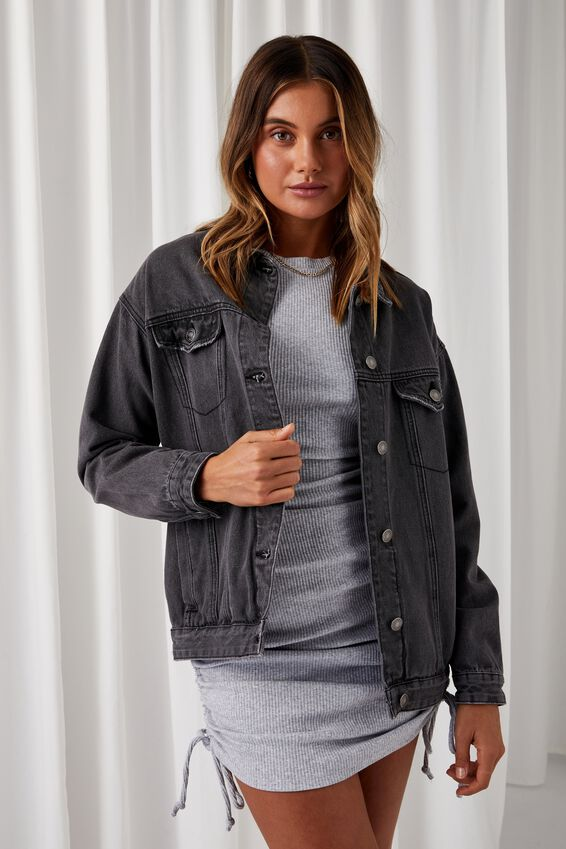 Oversized Denim Jacket, CHARCOAL FADE