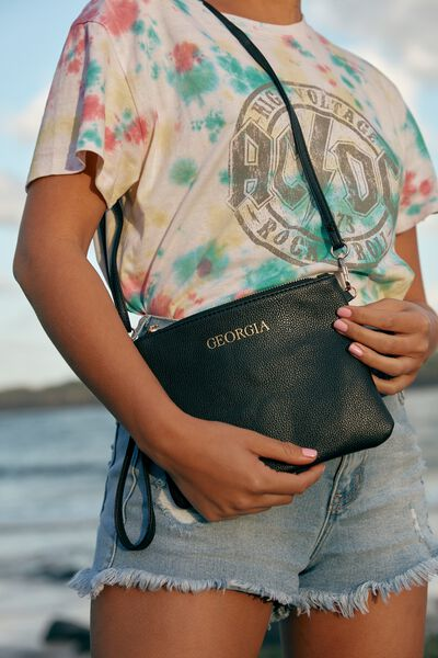 Personalised Sofia Zip Pouch With Wrist Strap, BLACK PEBBLE