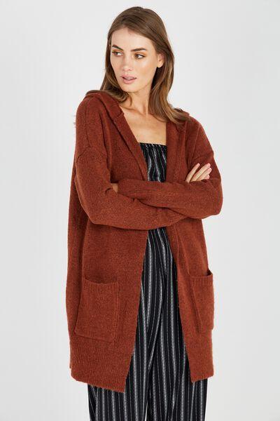 Gemma Hooded Cosy Knit Cardi, TOFFEE