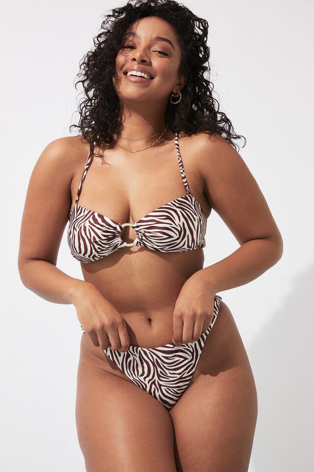 Charli Deep V Bikini Bottom, TIA ZEBRA COCOA BUTTER