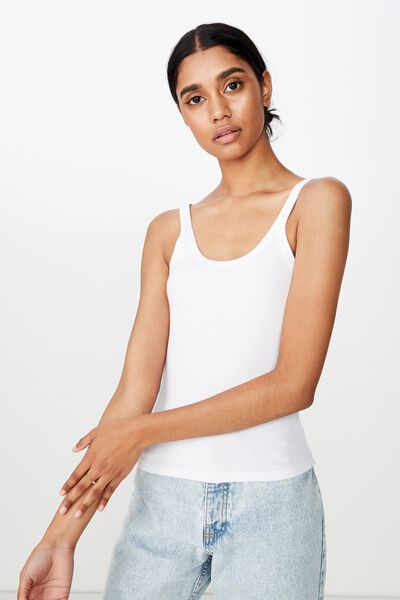 Leigh Rib Top, WHITE