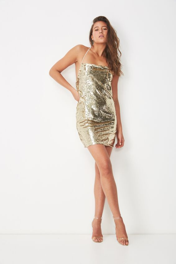 Cowl Neck Sequin Dress, SOFT GOLD