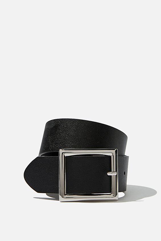 Wide Square Buckle Belt, BLACK PU