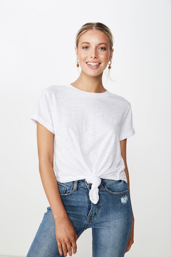 Laura Knotted Tee, WHITE