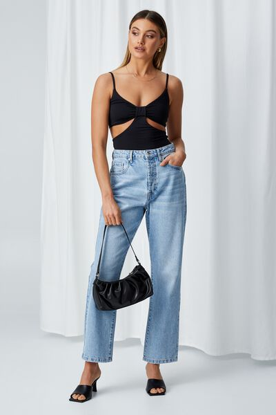 Summer Cut Out Knot Top, BLACK