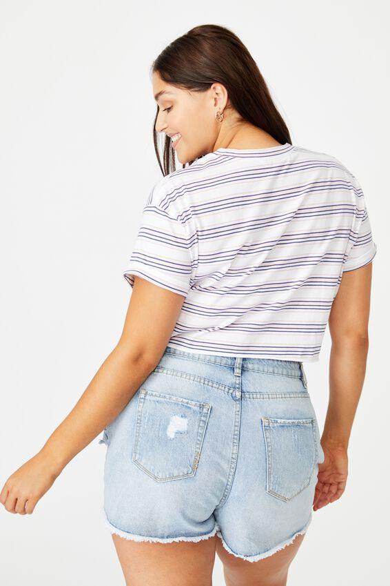 Ciara Crop T-Shirt, WINNIE STRIPE (WHT/FRYTLE PNL/BLSM PNK/CBLT NVY)