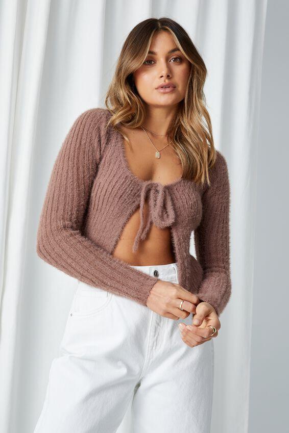 Adalyn Tie Front Knit Cardigan, CHOC MALT
