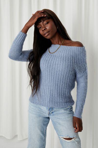 Layla Off Shoulder Knit, ARGO BLUE