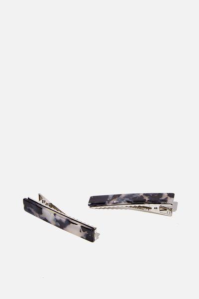 Hair Clips 2 X Pack, BLACK/WHITE MARBLE
