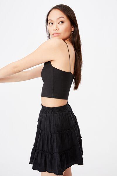 Annie Tiered Skirt, BLACK