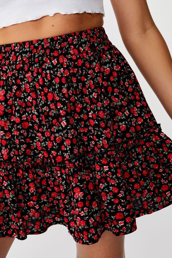 Kaiya Frill Hem Skirt, ROSE GARDEN FLORAL