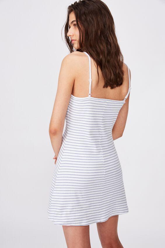 Rosie Flare Mini Dress, NEL STRIPE (WHT/IND BLU/RIDER BLU)