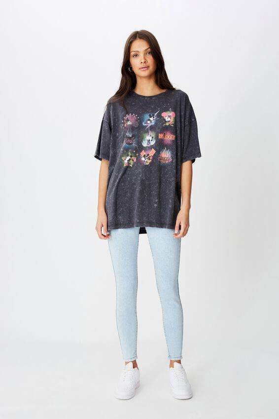 Oversized Disney Mickey Tee, WASHED BLACK/LCN DIS MICKEY MULTI
