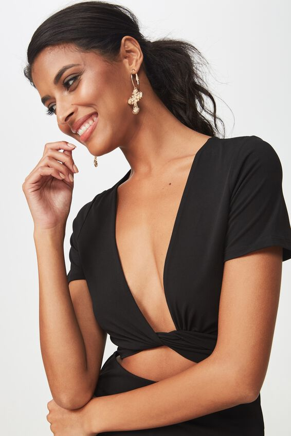 Party Set Short Sleeve Tie Front Top, BLACK