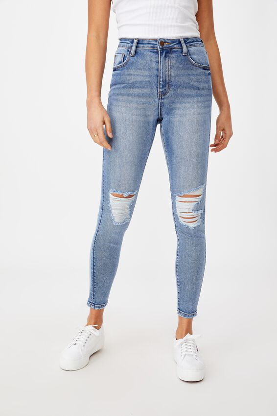 The Skinny Premium Ripped Jean, DUSK BLUE KNEE RIP