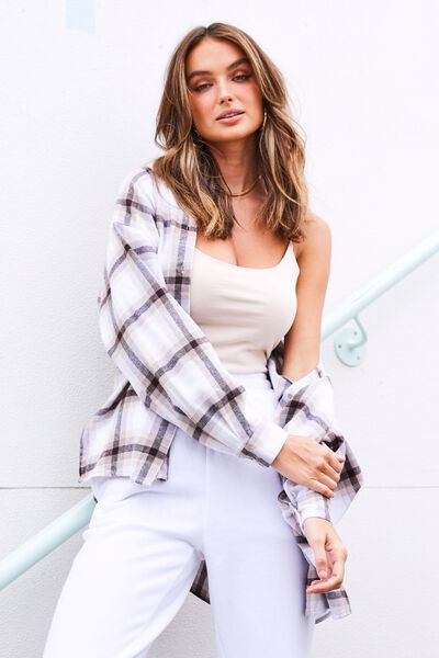 Lottie Oversized Check Shirt, CARLI CHECK CREAM