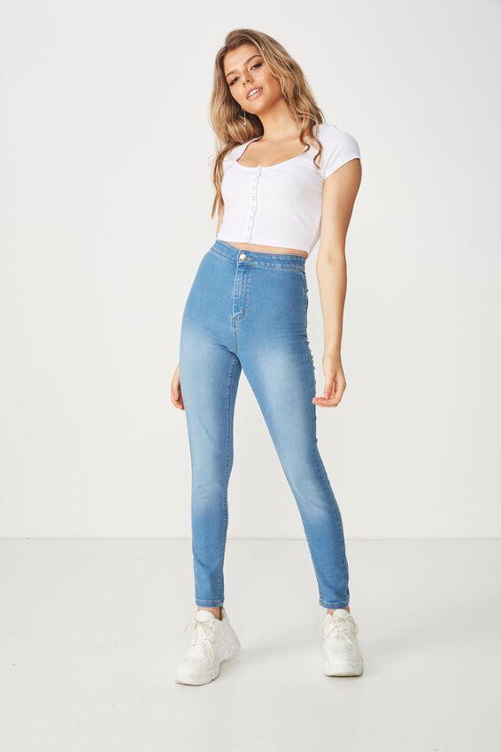 Super Skinny Sky High Jean, LUNAR BLUE