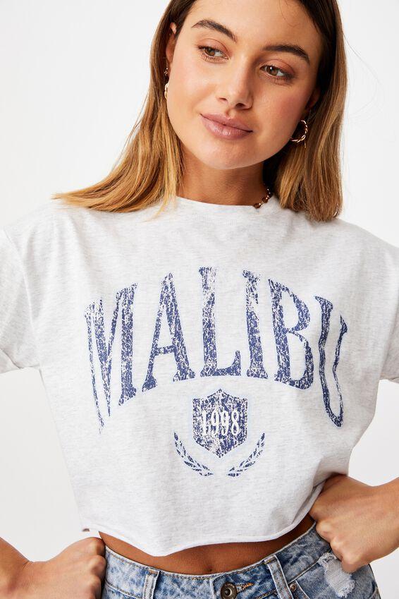 Malibu Crop Tee, LIGHT GREY MARLE/MALIBU