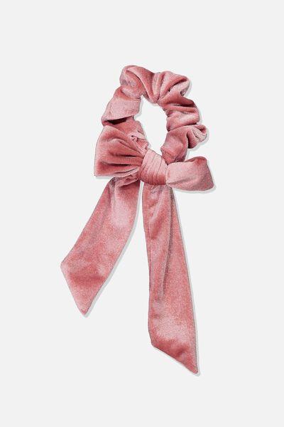 Velvet Bow Scrunchie, BLUSH