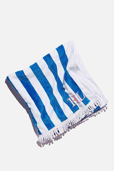 Personalised Beach Towels, BLUE WHITE STRIPE