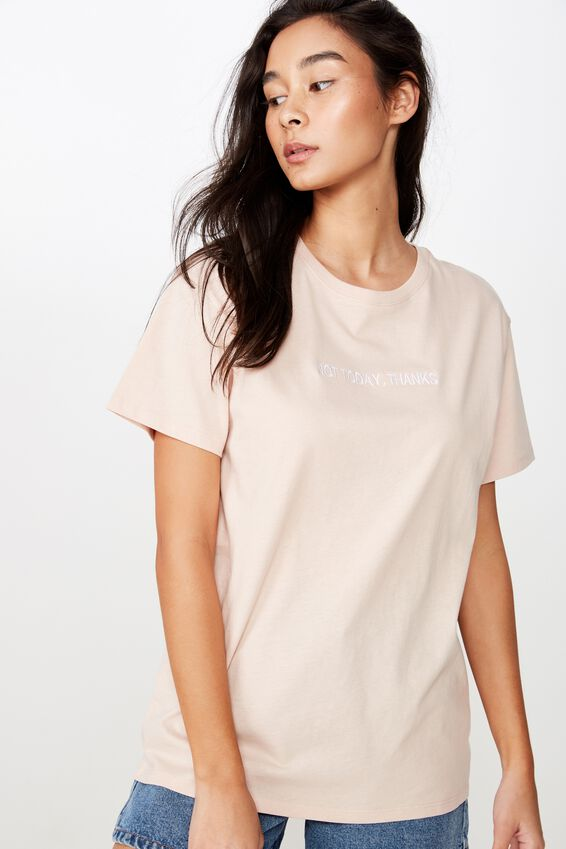 Lola Printed Longline Tee, DIVINE PINK/NOT TODAY