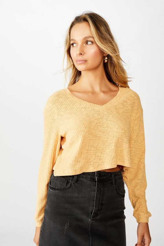 Johanna Long Sleeve Crop, SUNFLOWER