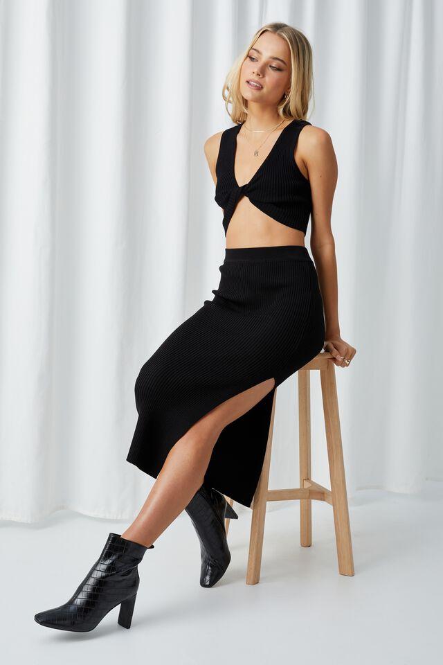 Leigh Midi Split Skirt, BLACK