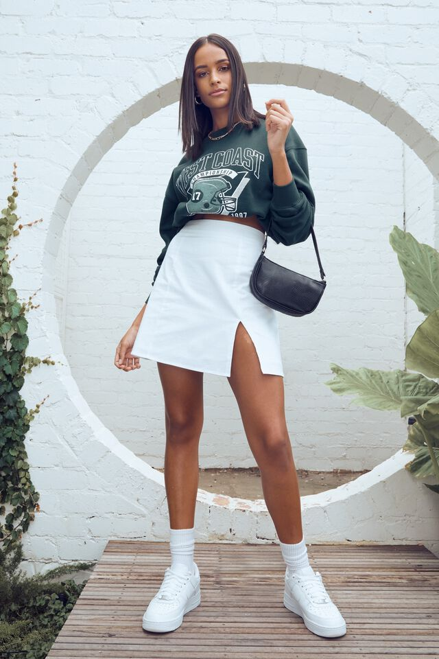 Harlow Woven Mini Skirt, WHITE