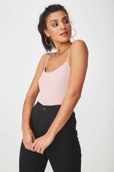 Jaimie Thin Strap Bodysuit, MAUVE PINK