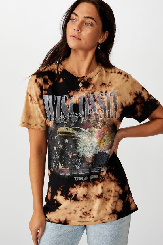 Lola Printed Longline Tee, DARK BASE BLEACH DYE/WISCONSIN