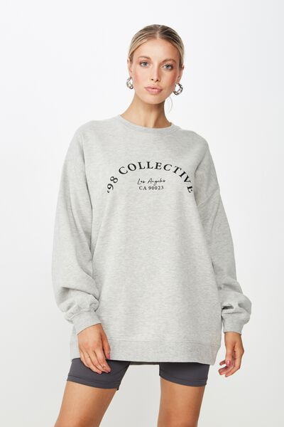 Lara Long Sleeve Sweat, GREY MARLE/COLLECTIVE