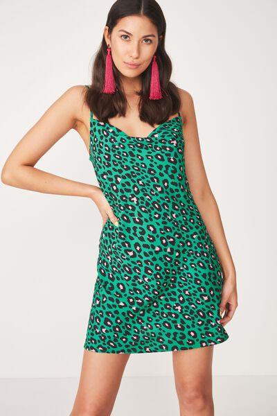 Cowl Neck Mini Dress, NEUE LEOPARD GREEN