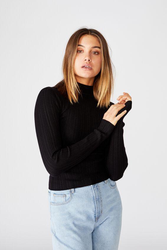 Monica High Neck Long Sleeve Knit, BLACK