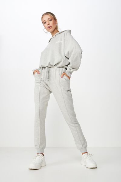 Robyn Pin Tuck Sweat Pant, GREY MARLE
