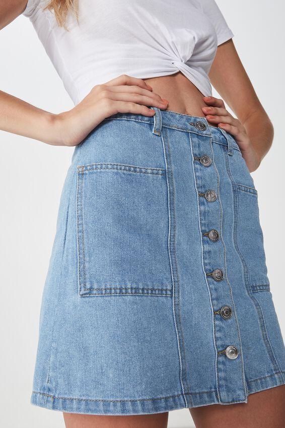 Olsen Button Through Mini Skirt, MID BLUE