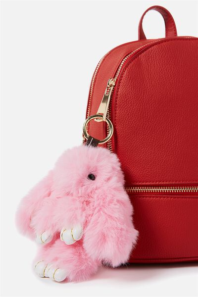 Plush Giant Bunny Keyring, POP PINK
