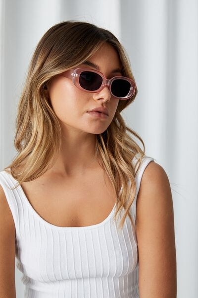 Darby Rectangle Sunglasses, ROSE PINK
