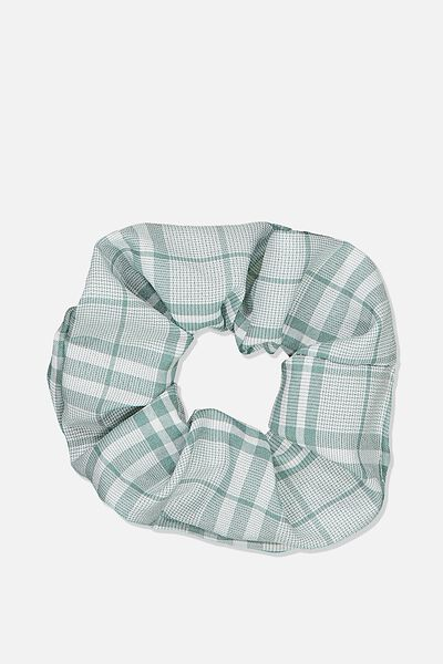Large Check Scrunchie, SAGE
