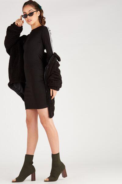 Long Sleeve Tape Bodycon Dress, BLACK/TAPE