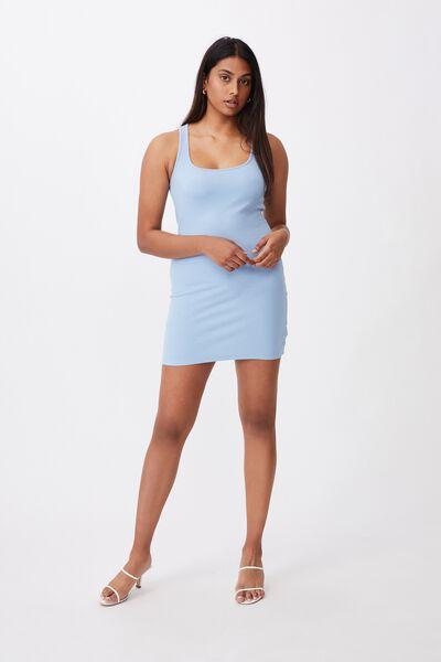 Whitney Cross Back Rib Dress, CAPRI BLUE
