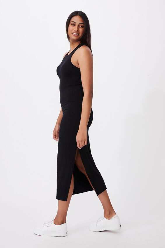 Brynn Rib Maxi Dress, BLACK