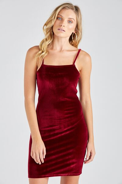 Velour Square Neck Cami Dress, BURGUNDY