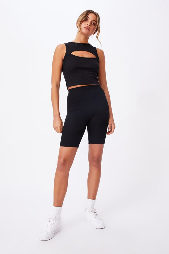 Emmy Rib Bike Short, BLACK