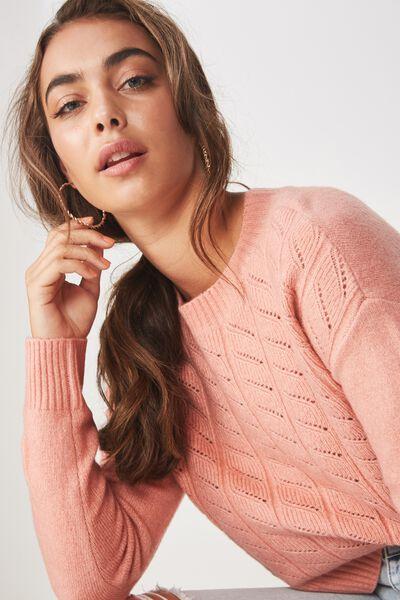 Leyla Longsleeve Cable Knit, ROSE PINK