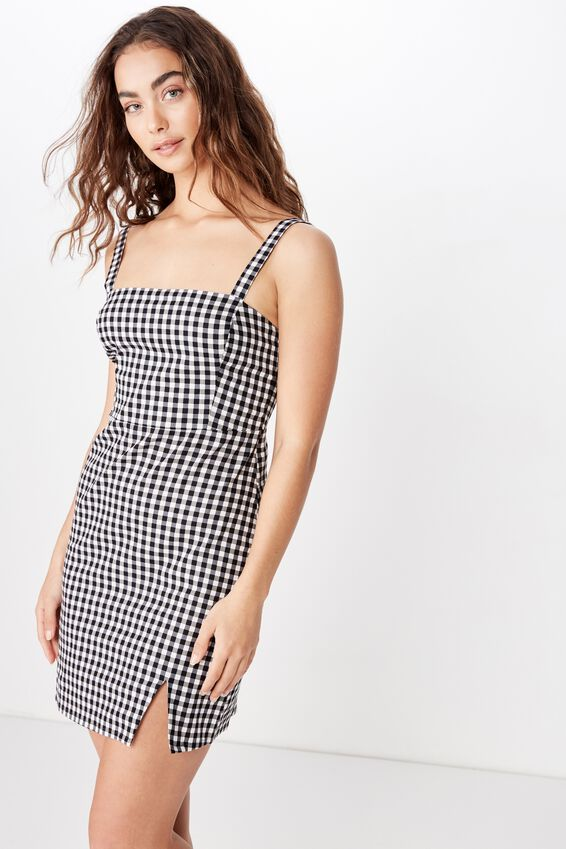 Bianca Wide Strap Cami Dress, B&W GINGHAM