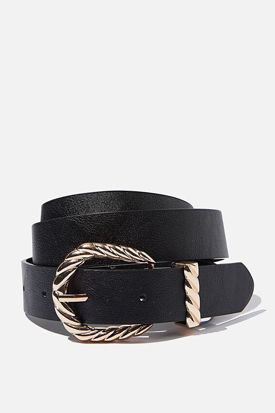 Tight Twist Belt, BLACK/GOLD
