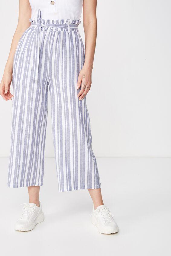 Crop Luna Paperbag Linen Pant, TERRY STRIPE STORM BLUE