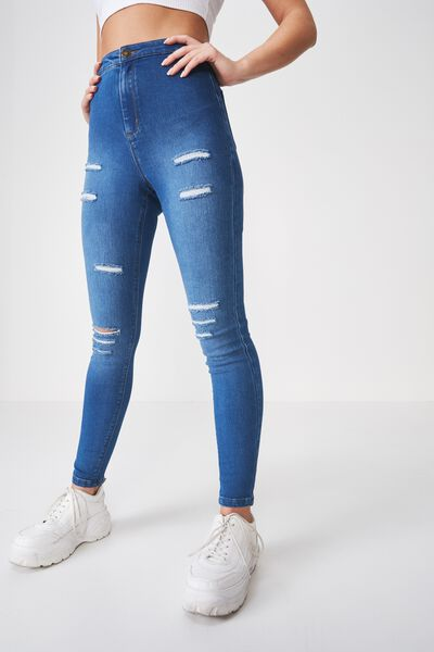Super Skinny Sky High Ripped Jean, EVER BLUE
