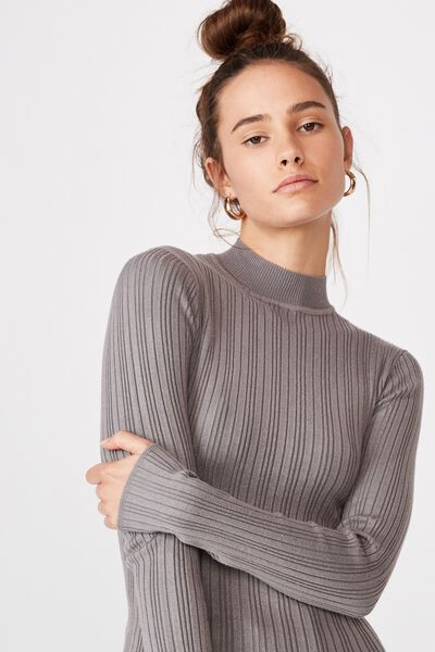 Monica High Neck Long Sleeve Knit, CEMENT GREY